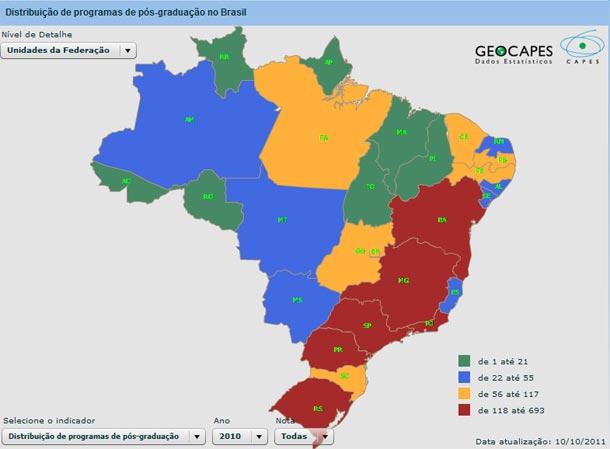 Distribuição dos Programas de Pós-Graduação no Brasil